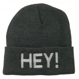 Hey Embroidered Long Cuff Beanie