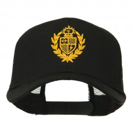 Crest Emblem Embroidered Mesh Back Cap - Black