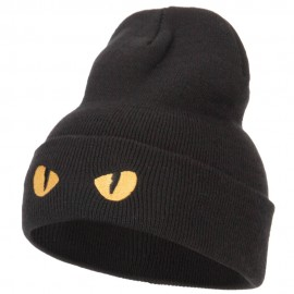Cat Eyes Embroidered Long Beanie