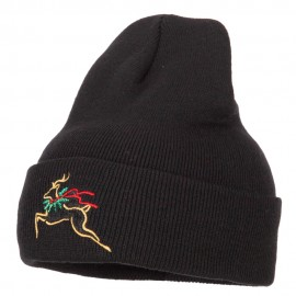 Reindeer Outline Embroidered Long Knitted Beanie