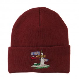 Santa Clause Flying Reindeers Embroidered Beanie - Maroon