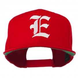 Old English E Embroidered Flat Bill Cap - Red
