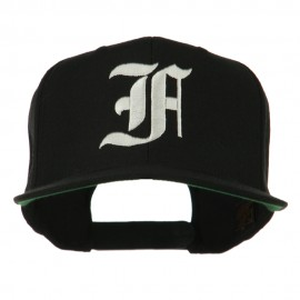 Old English F Embroidered Flat Bill Cap - Black