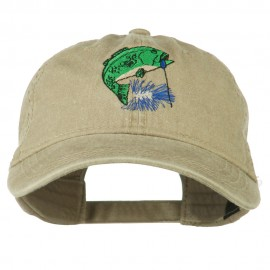 Bass Fishing Embroidered Washed Cap - Khaki