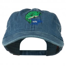 Bass Fishing Embroidered Washed Cap - Navy