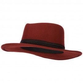 Women's Designed Band Accented Pinched Top Large Brim Wool Fedora Hat