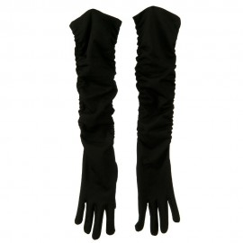 18 Inches Long Gathered Arm Glove - Black