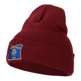 Oregon State Flag Map Embroidered Long Beanie