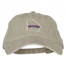 Georgia with Map Outline Embroidered Washed Cotton Twill Cap