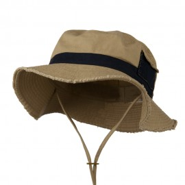 Big Size Cotton Twill Washed Bucket Hat - Khaki Navy