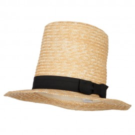 Extra High Wheat Straw Fedora Top Hat