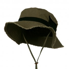 Big Size Cotton Twill Washed Bucket Hat - Dark Olive Black