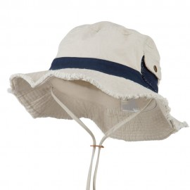 Big Size Cotton Twill Washed Bucket Hat - Putty Navy