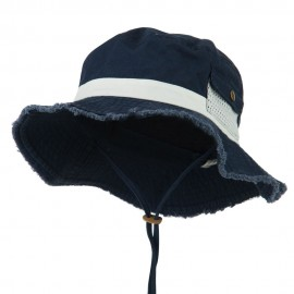 Big Size Cotton Twill Washed Bucket Hat - Navy White
