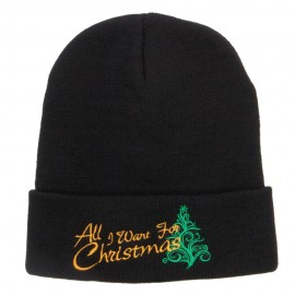 All I Want For Christmas Embroidered Beanie - Black