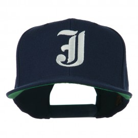 Old English J Embroidered Flat Bill Cap - Navy