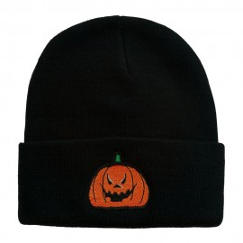 Halloween Evil Jack o Lantern Embroidered Long Beanie