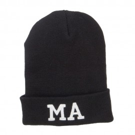 MA Massachusetts Embroidered Long Beanie