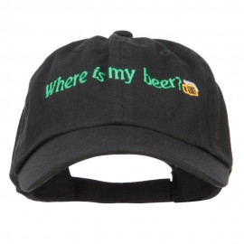 Where's My Beer Embroidered Low Cap - Black