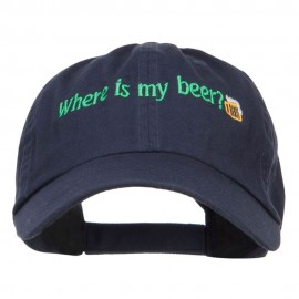 Where's My Beer Embroidered Low Cap - Navy