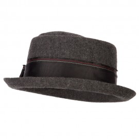 Women's Wool Blend Ribbon Band and Bow Trim Pork Pie Fedora Hat