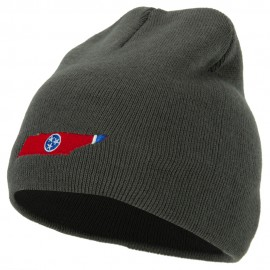 Tennessee State Flag Map Embroidered 8 Inch Knitted Short Beanie