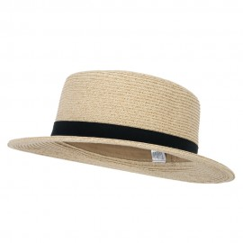 Women's Paper Braid Grosgrain Band Accented Boater Hat