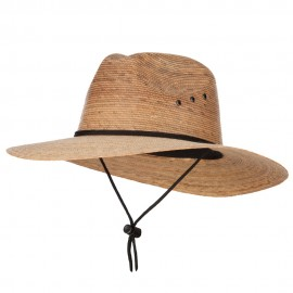 Men's Palm Braid Large Brim Fedora Hat - Dk Palm