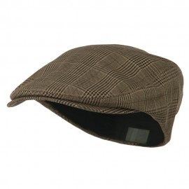 Elastic Plaid Fashion Ivy Cap - Brown