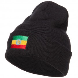 Ethiopia Flag Embroidered Long Beanie
