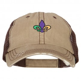 Mardi Gras Fleur de Lis Embroidered Low Profile Mesh Cap