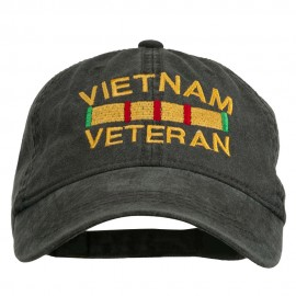 Vietnam Veteran Embroidered Pigment Dyed Brass Buckle Cap - Black