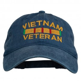 Vietnam Veteran Embroidered Pigment Dyed Brass Buckle Cap - Navy