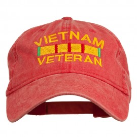 Vietnam Veteran Embroidered Pigment Dyed Brass Buckle Cap - Red