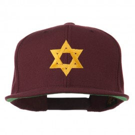Jewish Star Embroidered Prostyle Snapback Cap - Maroon