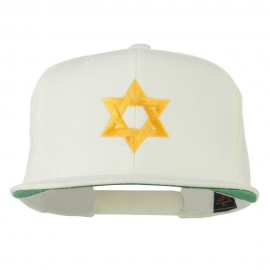 Jewish Star Embroidered Prostyle Snapback Cap - Natural
