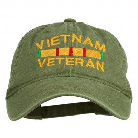 Vietnam Veteran Embroidered Pigment Dyed Brass Buckle Cap - Olive