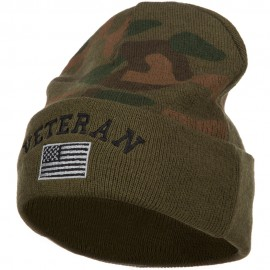 Veteran USA Flag Embroidered Camo Long Beanie