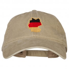 Germany Flag Map Embroidered Washed Cotton Twill Cap