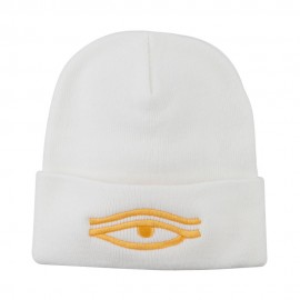 Eye That Sees All Embroidered Long Beanie - White
