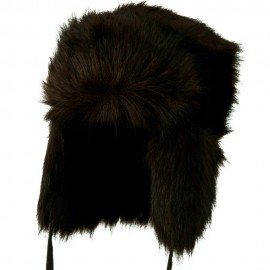Faux Fur Ear Flap Trooper Hat - Black Brown