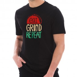 Eat Grind Repeat Phrase Graphic Design Short Sleeve Cotton Jersey T-Shirt