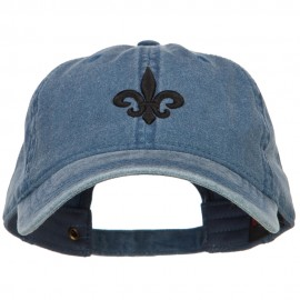 3D Fleur de Lis Embroidered Washed Buckled Cap