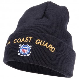 US Coast Guard Logo Embroidered 12 Inch Long Knitted Beanie