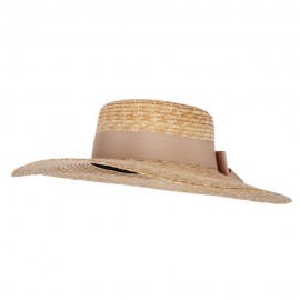 Women's Fine Weave Straw Double Bow Trim Extra Large Brim Sun Hat