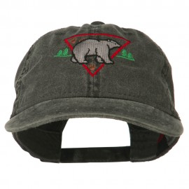 Black Bear Embroidered Washed Cap - Black
