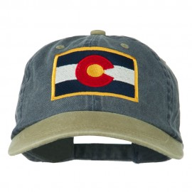 Colorado Flag Embroidered Two Tone Cap - Navy Khaki