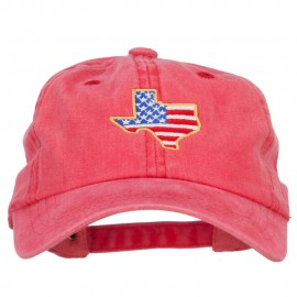 USA Flag Texas Map Embroidered Washed Buckle Cap
