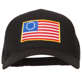 Betsy Ross Flag Embroidered Solid Cotton Twill Pro Style Cap