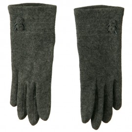 2 Flower Bead Accent Wool Blend Glove